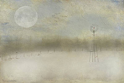 Painting - Winter Windmill Dreamscape  by Expressive Landscapes Fine Art Photography by Thom