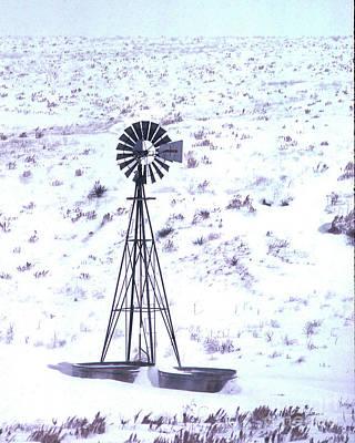 Photograph - Winter Windmill Kansas by Garry McMichael