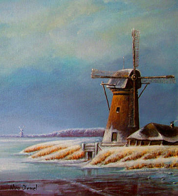 Nederland Painting - Winter Windmill by Nick Diemel