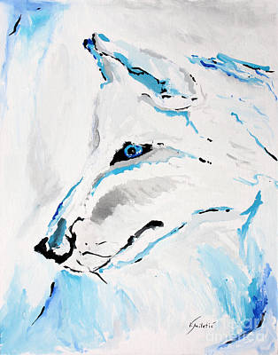 Portrait Painting - Winter Wolf - Animal Art By Valentina Miletic by Valentina Miletic