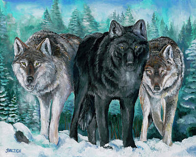 Painting - Winter Wolves by Joe Baltich