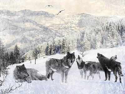 Land Digital Art - Winter Wolves by Lourry Legarde