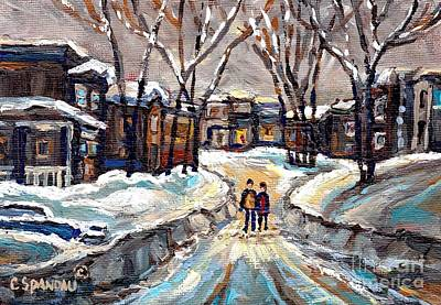 Snowy Night Painting - Winter Wonderland Painting After The Snowstorm Walking The Snowy Streets Best Original Canadian Art  by Carole Spandau