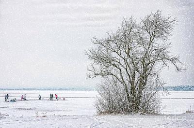 Pond Hockey Photograph - Winter Wonderland Frozen Lake by Antony McAulay