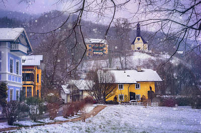 Winter Wonderland In Mondsee Austria  Print by Carol Japp