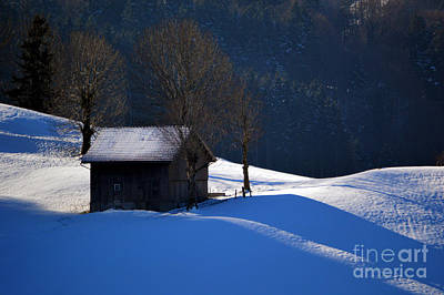 Barns In Snow Photograph - Winter Wonderland In Switzerland - The Barn In The Snow by Susanne Van Hulst