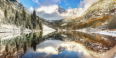 Photograph - Winter Wonderland - Maroon Bell Panoramic by Gregory Ballos