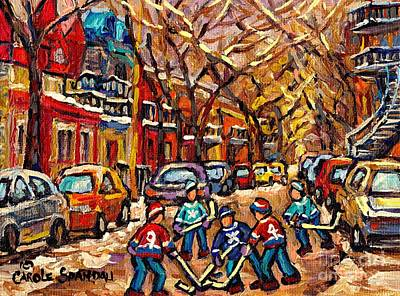 Winter Wonderland Original Hockey Painting Streets Of Plateau Canadian City Scene Carole Spandau     Original