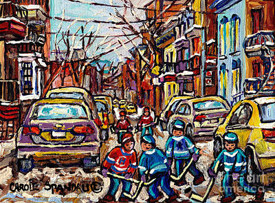 Winter Wonderland Original Hockey Paintings Streets Of Verdun Canadian City Scene Carole Spandau     Original