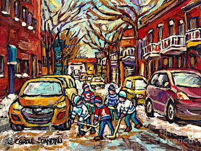 Winter Wonderland Original Hockey Paintings Streets Of The Pointe Canadian City Scene Carole Spandau Original by Carole Spandau