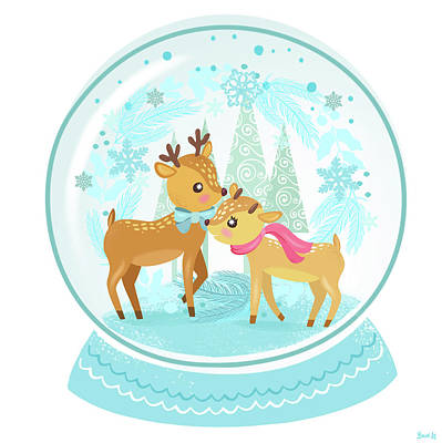 Snowed Trees Painting - Winter Wonderland Snow Globe by Little Bunny Sunshine