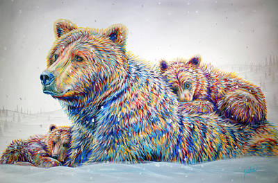 Bear Cub Painting - Winter Wonderland by Teshia Art