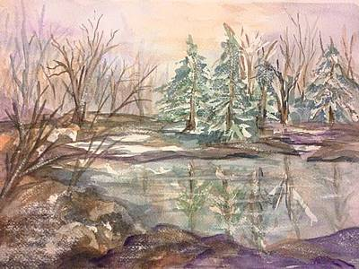 Painting - Winter Woods 2 Frozen Pond by Ellen Levinson