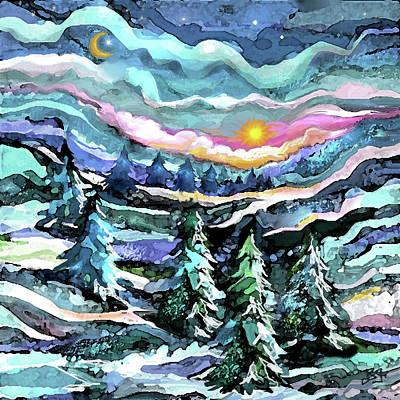 Winter Woods At Dusk Art Print