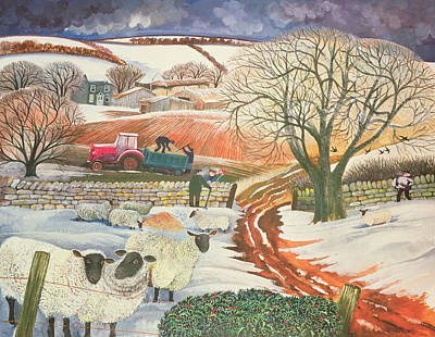 Barbed Wire Fences Painting - Winter Woolies by Lisa Graa Jensen