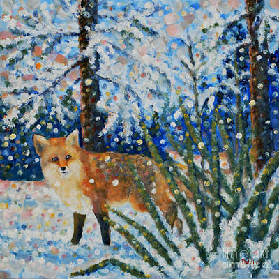 Winter Scene Painting - Winter Yucca / Red Fox by Jim Rehlin