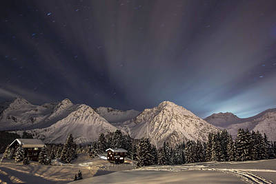Long Exposure Photograph - Winterevening In The Mountains by Ralf Eisenhut