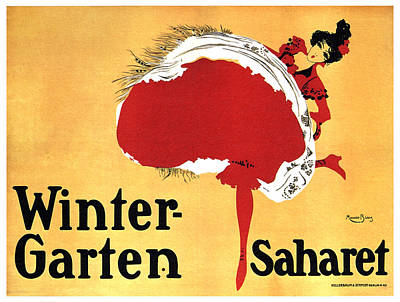 Royalty-Free and Rights-Managed Images - Wintergarten Vaudeville Palace, Berlin - Saharet - Vintage French Cabaret Dance Poster by M Biais by Studio Grafiikka