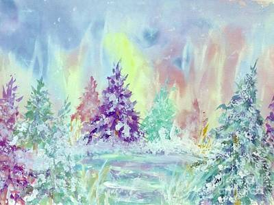 Snow Covered Pine Trees Painting - Winter Wonderland Aurora Borealis  by Ellen Levinson