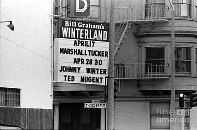 Photograph - Winterland Marquee April 1976 by Ben Upham