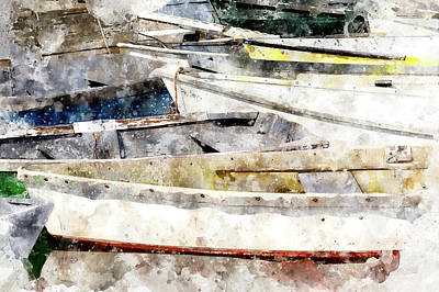 Digital Art - Winterport Dories Wc by Peter J Sucy