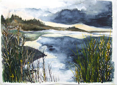 Painting - Winterport Inlet by Jan Anderson