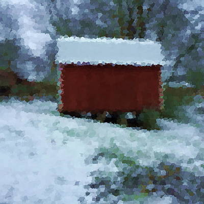 Shed Mixed Media - Winter's Blanket On Building by Zin Shades