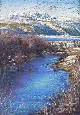 Pastel - Winter's Edge, Flat Creek Jackson by Louise Green