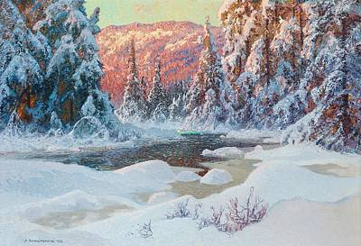 Cold Painting - Winter's Eve In The Wilderness by Celestial Images