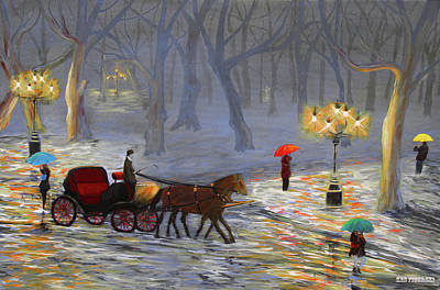 Snowfall Painting - Winters Eve Select Colors by Ken Figurski