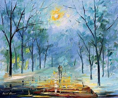 Resplendent Painting - Winters Fog - Palette Knife Contemporary Oil Painting On Canvas By Leonid Afremov by Leonid Afremov