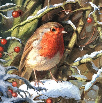 Greetings Card Painting - Winters Friend by David Price