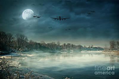 Under The Moon Wall Art - Digital Art - Winters Full Moon by J Biggadike