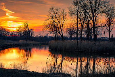 Indiana Landscapes Photograph - Winter's Last Sunset by Jackie Novak