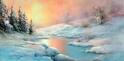 Yosemite Painting - Winter's Sunset by Sally Seago