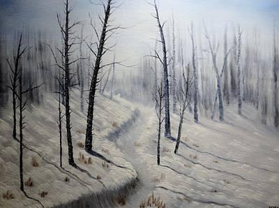 Skiing Fine Art Painting - Winter's Walk by Xochi Hughes Madera