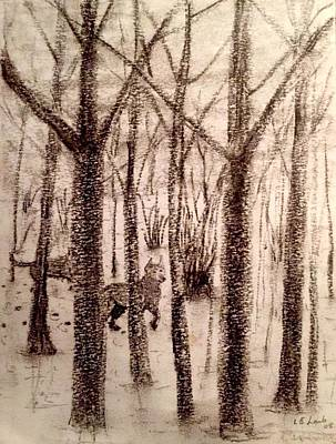 Painting - Winters Wolves Charcoal On Paper  by Larry Lamb