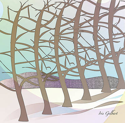 Digital Art - Winterscape #2 by Iris Gelbart