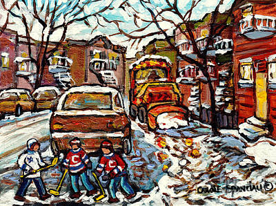 Painting - Winterscene Paintings For Sale Sidewalk Snowplow Parking Space Street Hockey Carole Spandau          by Carole Spandau