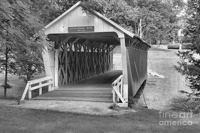 Photograph - Winterset Iowa Historic Bridge Black And White by Adam Jewell