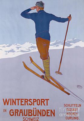 Winter Sports Painting - Wintersport In Graubunden, 1906  by Walter Koch