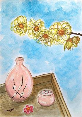 Sake Bottle Painting - Wintersweet And Sake by Jo lan Tao