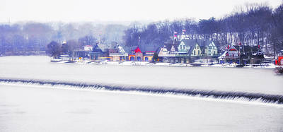 Wintertime At The Fairmount Dam And Boathouse Row Art Print by Bill Cannon