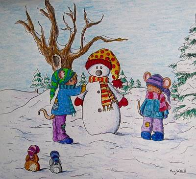 Drawing - Wintertime Fun by Megan Walsh