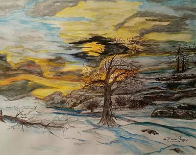 Fire And Ice Painting - Wintertime Sundown by Carlene Harris
