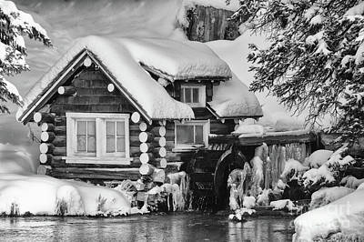 Photograph - Wintery Cabin Monochrome Art By Kaylyn Franks by Kaylyn Franks