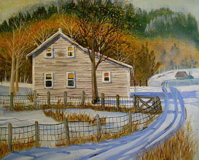Painting - Wintery Country Road by Teresa Boston