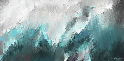 Light And Dark Painting - Wintery Mountain- Turquoise And Gray Modern Artwork by Lourry Legarde