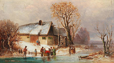 Painting - Wintery River Landscape  by Anton Doll
