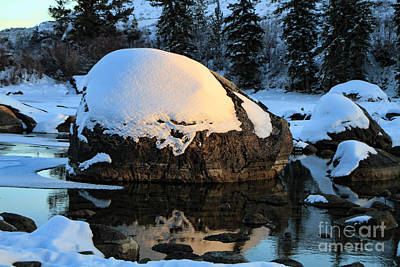 Art Print featuring the photograph Wintery Rock by Edward R Wisell